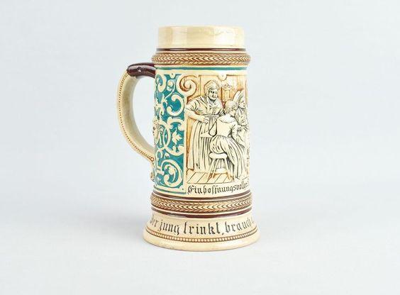Krug Stammhalter Humpen Bierkrug Steingut Antik Vintage