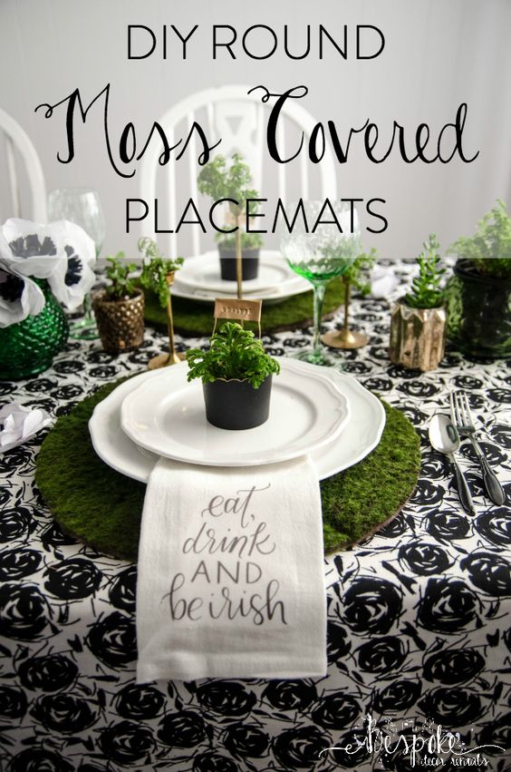 diy round moss covered placemats for a classy saint patrick 39 s day party popular pins