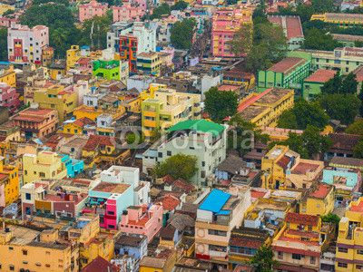 Colorful homes in crowded Indian city Trichy, Tamil Nadu Wall Decal