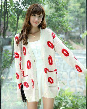 CT05661 Knitted lip loose shirts long V-neck cardigan