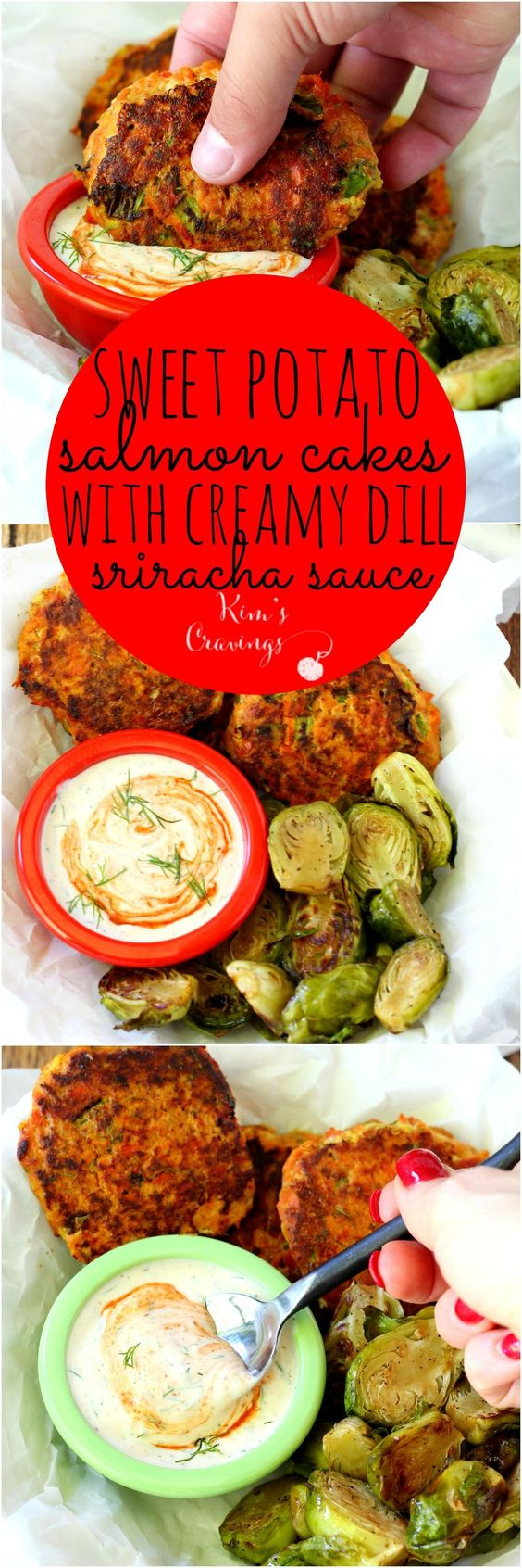 Sweet Potato Salmon Cakes with Creamy Dill Sriracha Sauce- creamy sweet potato binds with flaky pan-seared salmon in this uber-healthy super food combo. Complete meal with Brussels sprouts can be on your table in about 40 minutes and is gluten-free.