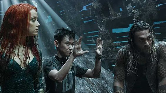 James Wan on the sets of Aquaman
