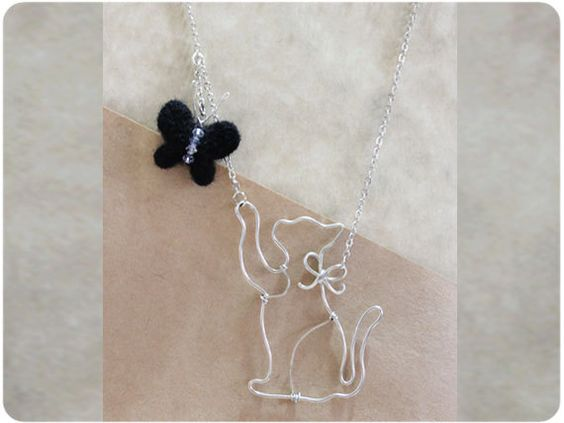Cat & butterfly Necklace  wire crystal beads wool by Boogiecat, $16.00 - so cute