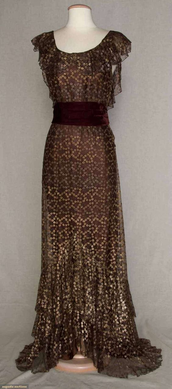 Metallic and brown evening gown, 1934.