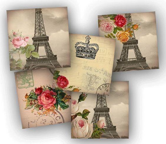 Laminas vintage para decoupage hojas decoradas - Laminas decorativas vintage ...