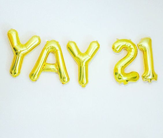 GOLD YAY 21 Balloons Number 21 Balloons 21st by girlygifts07