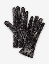 Cejon Black & Silver Paisley Print Velvet Gloves