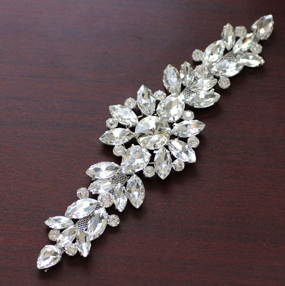 18.2 5.5cm White crystal Silver Base Flower rhinestone applique Belt For  wedding evening dress d5eca2e65302