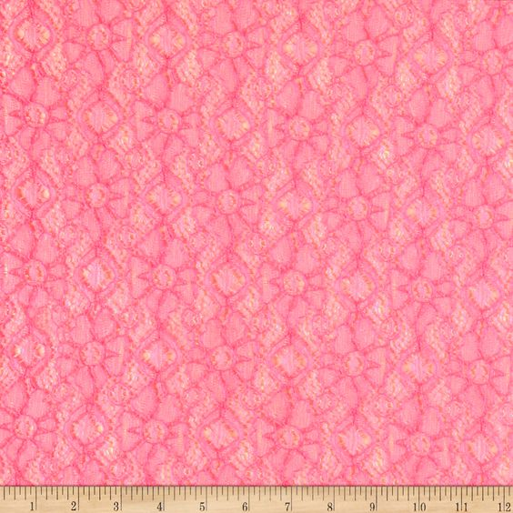 Novelty Lace Hot Pink/White Fabric By The Yard