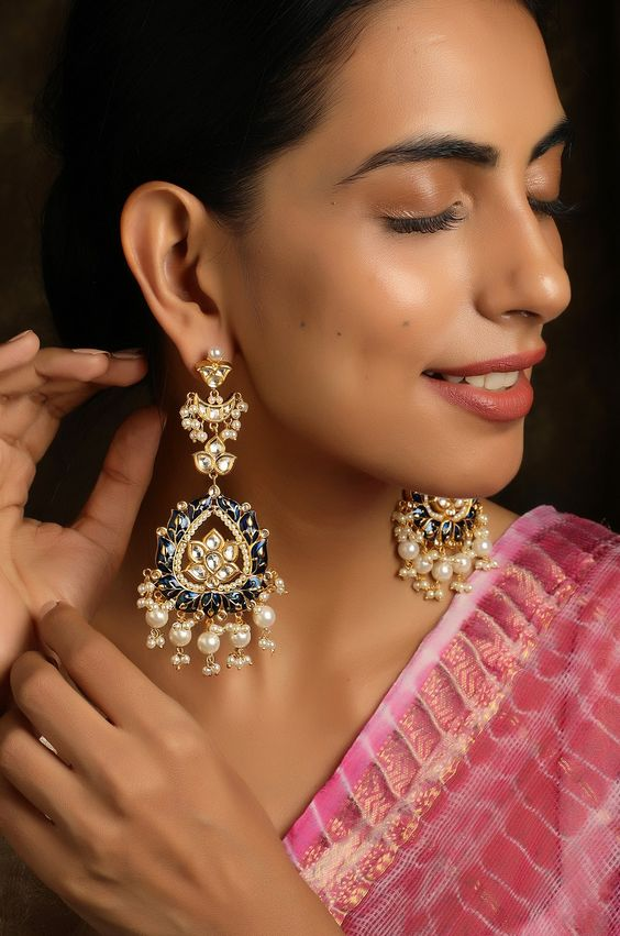 Raika Blue Gold Tone Kundan Inspired Meenakari Earrings – Paisley Pop Shop