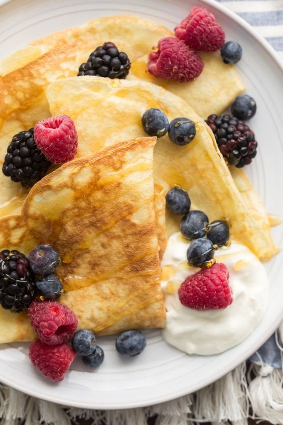 Einkorn Crepes with Fresh Berries | http://naturallyella.com: