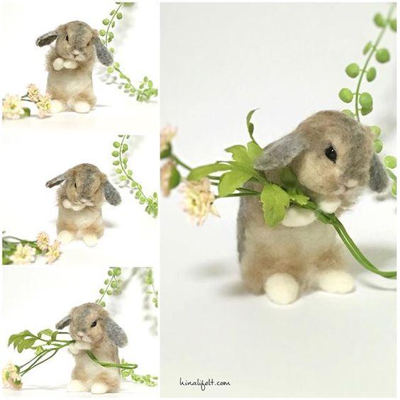 Cute Needle felting wool bunny (Via @hinali_felt):