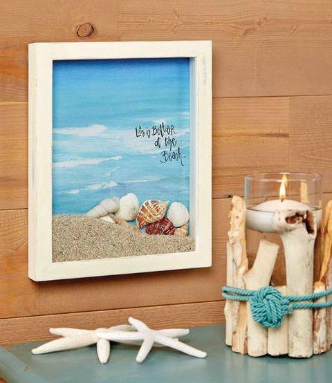 vacation photo frame nautical decor shore home blue picture frame Seashell Home Decor sea shell art beach frame beach house decor
