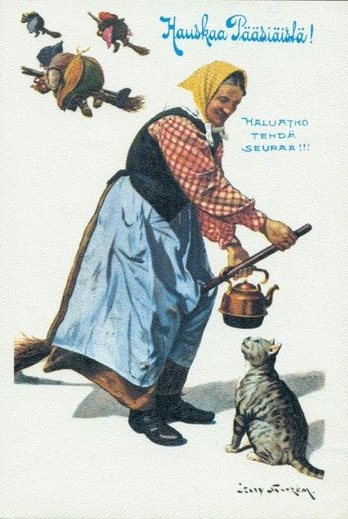 VINTAGE SWEDISH EASTER WITCH POSTCARD: