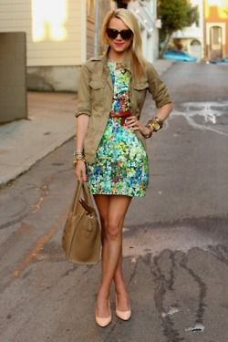 Adore this outfit - the jacket toughens up the look