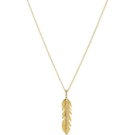 Ileana Makri Diamond Baby Eagle Feather Pendant Necklace (915) found on Polyvore