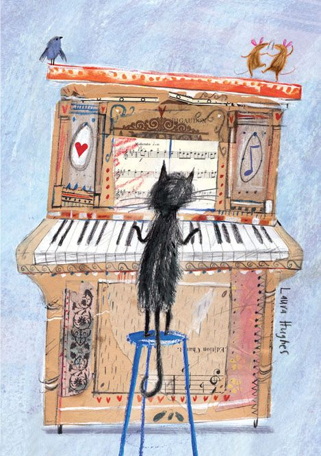 Adore this illustration by Laura Hughes of a cat playing an upright piano, with a singing bird and dancing mice on top!: