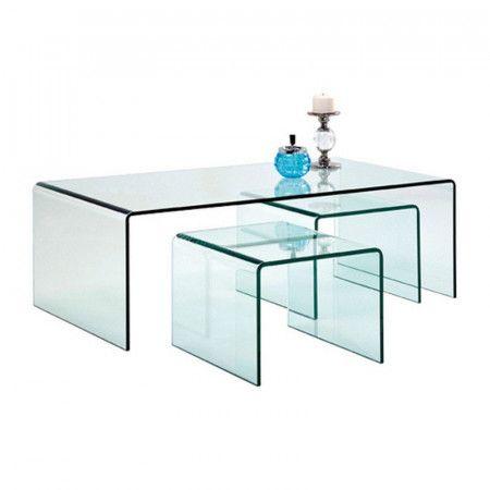 3 Plexiglas Bijzettafeltjes.Glazen Salontafel Set 3 Delig Koffietafel Salontafel En Glazen