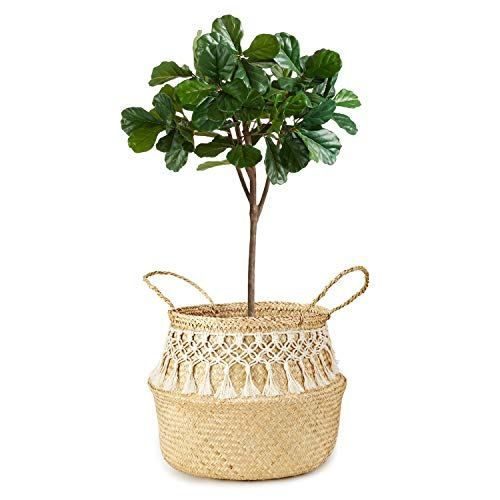 Mkono Seagrass Plant Basket Indoor Planter Decorative Flower Pot Cover Up To 12 Inch Pot With Macrame Wrap L Decorated Flower Pots Plant Basket Flower Pots