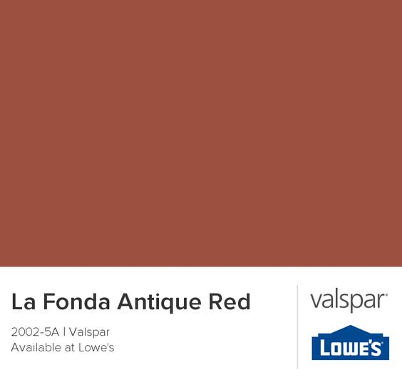 Valspar Paint - Color Chip - La Fonda Antique Red