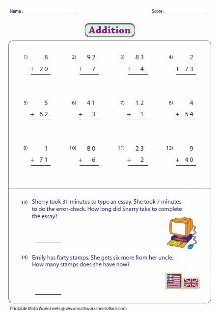2 Digit Plus 1 Digit Addition Worksheet Addition Worksheets First Grade Math Math Groups Vertical addition sums worksheets