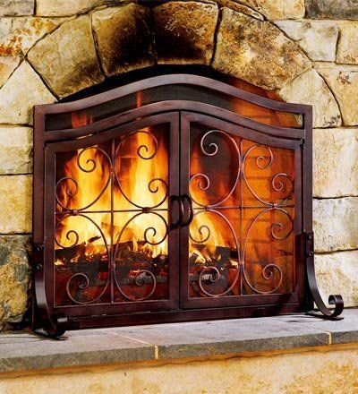 Large 2 Door Finished Tubular Steel Crest Fire Screen With