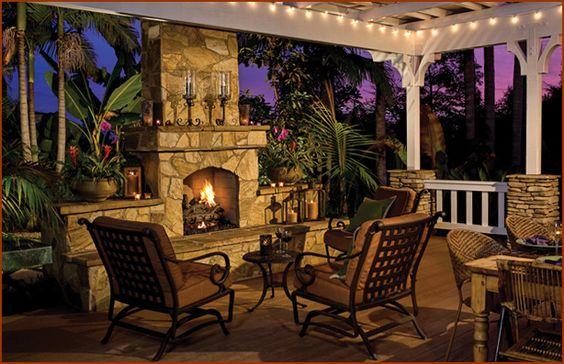 Love an outdoor fireplace!