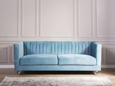 3 Seater Velvet Fabric Sofa Light Blue Arvika Blue Sofas Living Room Light Blue Sofa Living Room Blue Sofa Decor