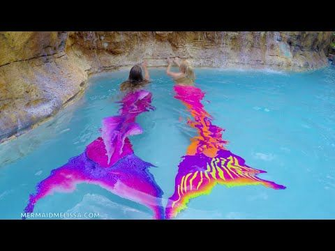FIN FUN MERMAID TAILS - Live Mermaids Swimming In Our Pool - YouTube