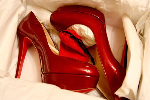 classy red pumps