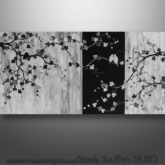 Abstract tree painting black and white painting and for Abstract painting on black canvas