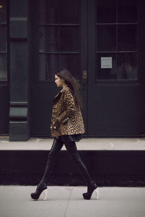 DSquared shoes and amazing leopard jacket