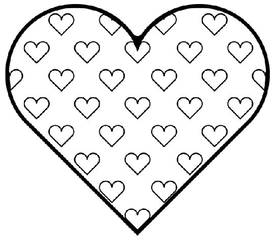 Valentines Hearts In Coloring Page