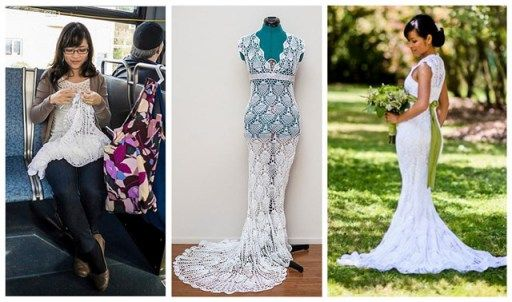 This Lovely Bride Crochets Her Own Dress On Her Daily Bus Ride In Five Months | DIY Tag