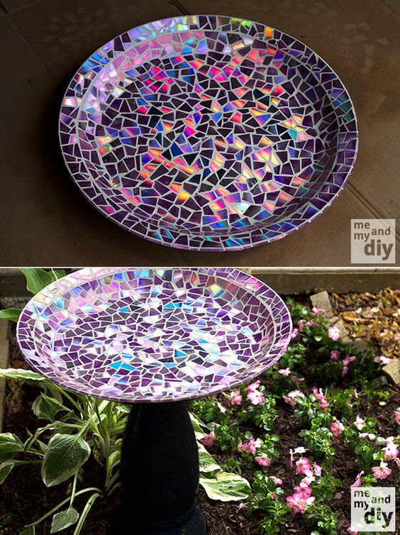 6.) A Birdbath - This CD/DVD birdbath is beautiful and functional. Find the step-by-step instructions here.