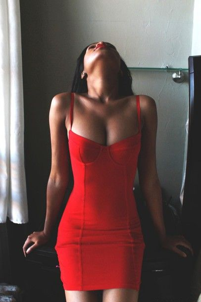 Dress: red bustier cleavage sexy bodycon bodycon party party date outfit short sexy beautiful