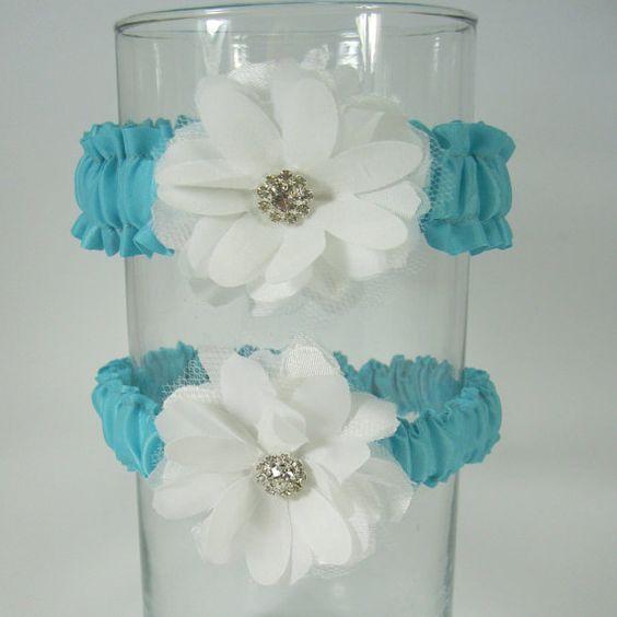 Garter set in Tiffany Blue and Ivory Daisy Wedding by HARTfeltart