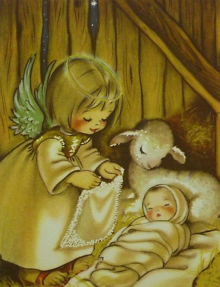 Vintage Christmas Card with a message of love, please notice the heart in the center of the angel's blanket which is being put over baby Jesus!!!!! So very precious!!!!!: