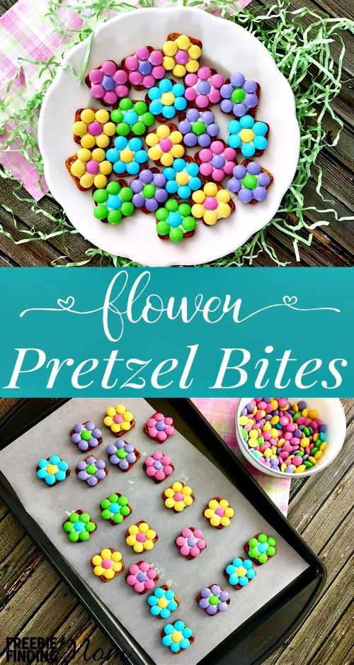 Need an easy Easter dessert or spring snack idea? These flower pretzel bites are as delicious as they are pretty. This pretzel snack recipe requires only three ingredients (white candy melts, waffle pretzels and pastel M&Ms) to make the perfect combination of sweet and salty that will satisfy everyone's taste buds.: