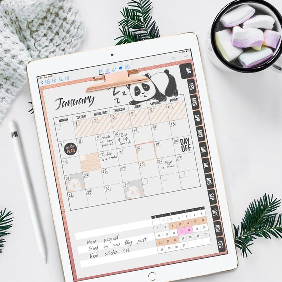 Portrait Digital planner with Monthly weekly and daily pages | Etsy