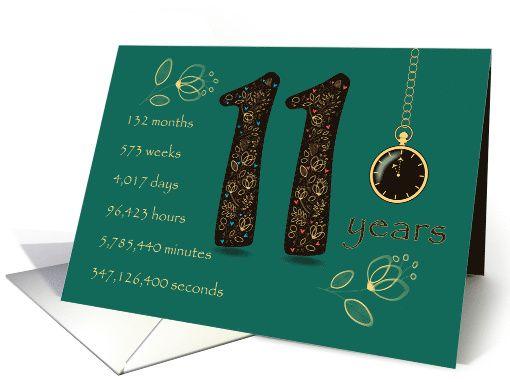 11th Wedding Anniversary 11 Years Break Down Into Months Days Etc Card 11th Wedding Anniversary 11th Wedding Anniversary Gift Wedding Anniversary