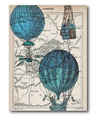 Another great find on #zulily! Blue Hot Air Balloon Canvas Wall Art #zulilyfinds