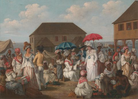 Agostino Brunias, 1728–1796, Italian, active in Britain (1758–70; 1777-80s), Linen Market, Dominica, ca. 1780, Oil on canvas, Yale Center for British Art, Paul Mellon Collection