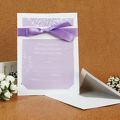Elegant Style Wedding Invitation With Ribbon (Set of 50) – USD $ 59.99