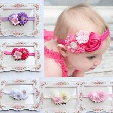 5 Pcs Kids Hair Accessories Girls Hair Elastic Artificial Flowers Peony Tiaras E Acessorios De Cabelo Infantil #2334(China (Mainland))