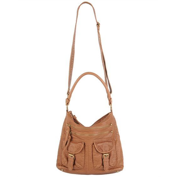 Distressed Leatherette Bag ($33) ❤ liked on Polyvore featuring bags, handbags, shoulder bags, accessories, purses, women, pocket purse, multi pocket purse, accessories handbags and purse