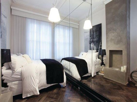 Narrow bedroom? Add mirrors.