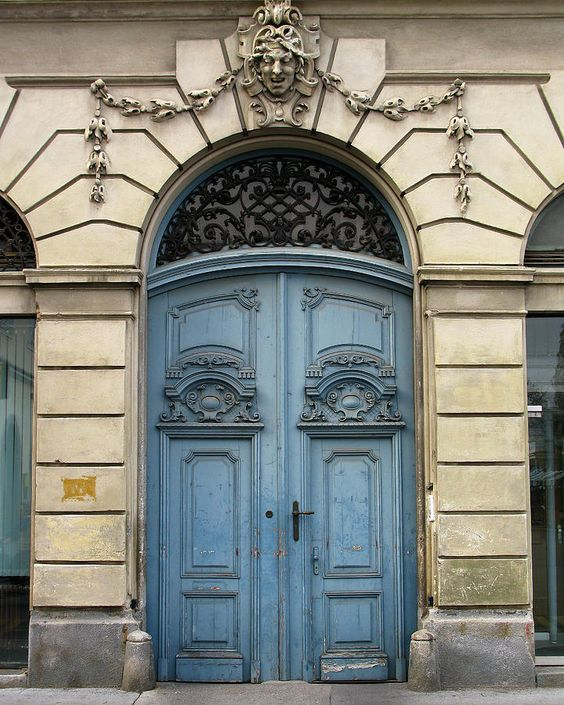 Blue Doors In Ljubljana Slovenia With Images Colour Architecture Blue Door Beautiful Doors