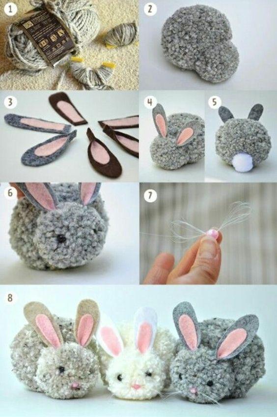 pompon en laine, pelote de laine, lapin décoratif: