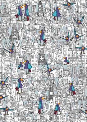 birds and rockets metal poster @displate #displate #sharonturner #space #cute #illustration #art